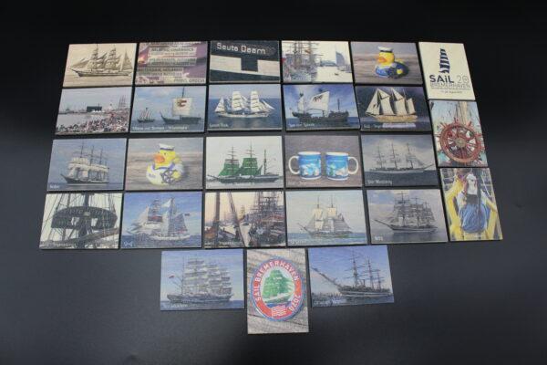 26 Bildpaare mit Windjammern und vor allem mit Impressionen der vergangenen Sail-Veranstaltungen in Bremerhaven.